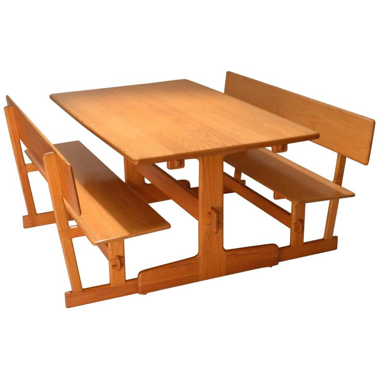 Ordinaire Gerald McCabe Oak Trestle Dining Table And Benches For Orange Crate Modern