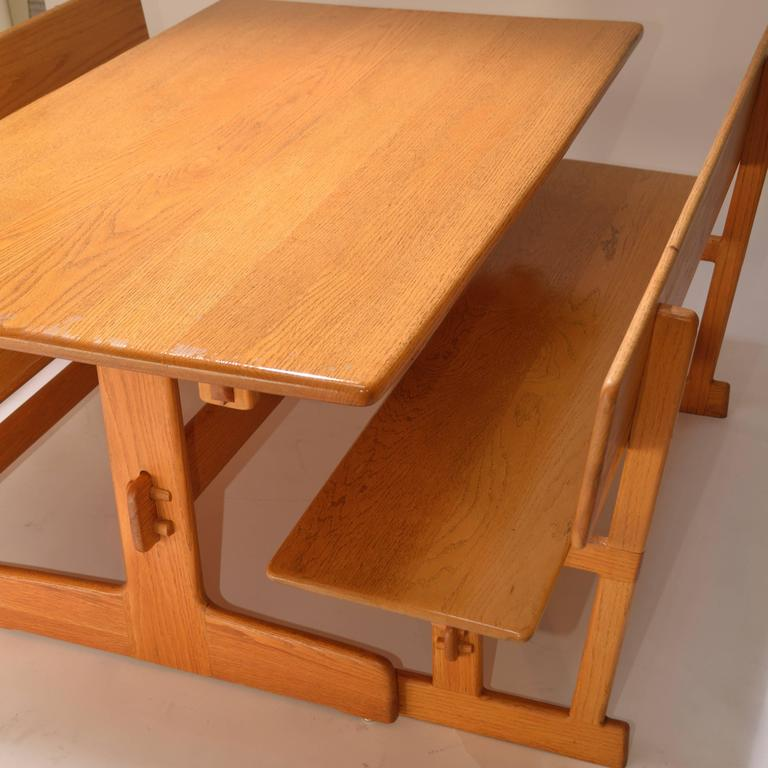 Gerald McCabe Oak Trestle Dining Table And Benches For Orange Crate Modern