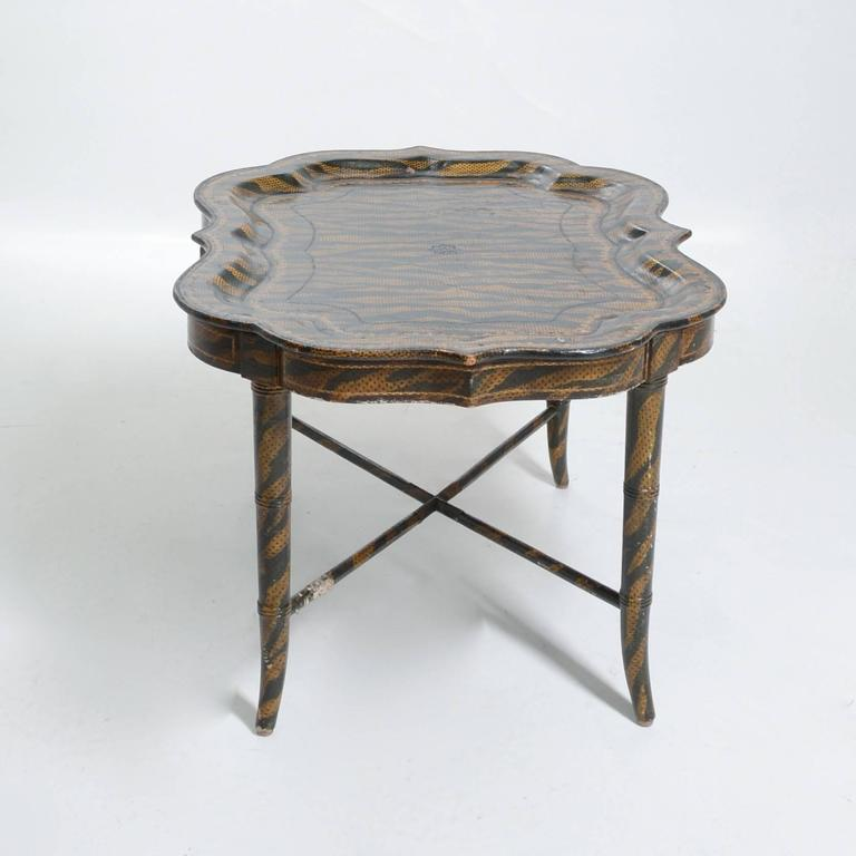 Hand Painted Tiger Print Coffee Table By Maitland Smith