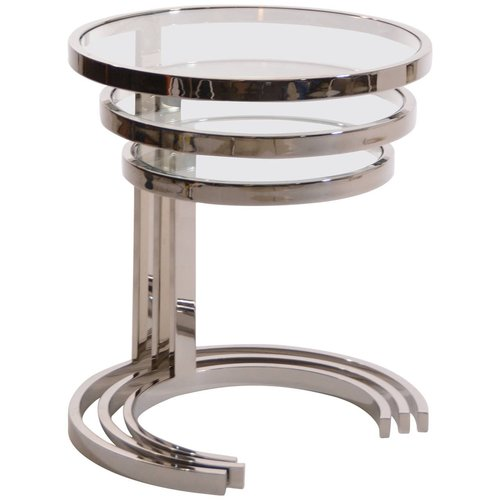 Set of 3 nesting stainless steel and glass nesting tables by brueton set of 3 nesting stainless steel and glass nesting tables by brueton watchthetrailerfo