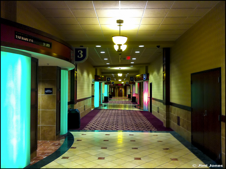 Photo of a theater corridor that leads to each cinema
