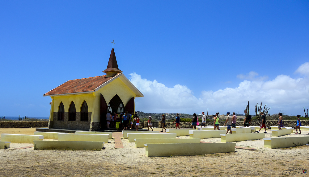 Tourist Visit the Alto Vista Chapel in Aruba