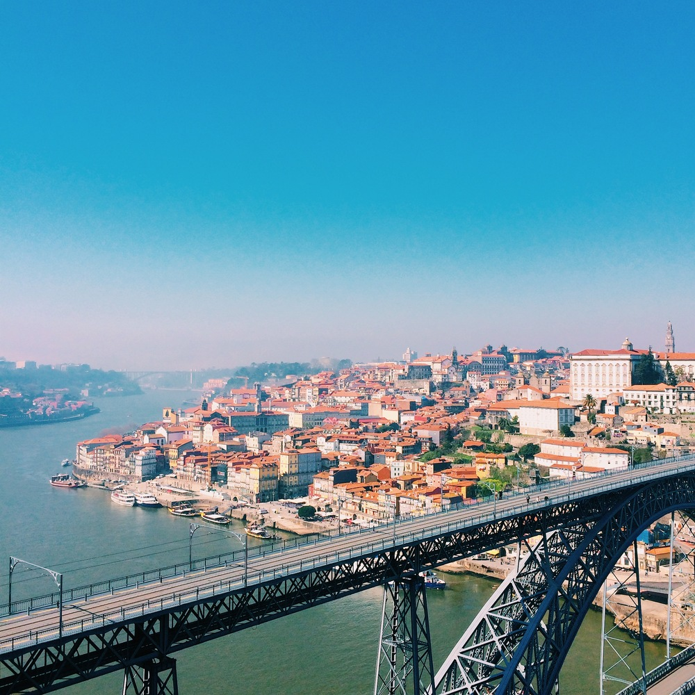The view of Porto's old part of town and bridge Dom Luís, viewed from the Monastery of Serra do Pilar.