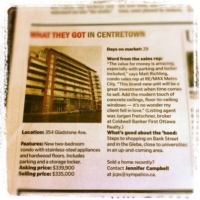 Front Page of the Homes and Condos in Ottawa Citizen — Matt