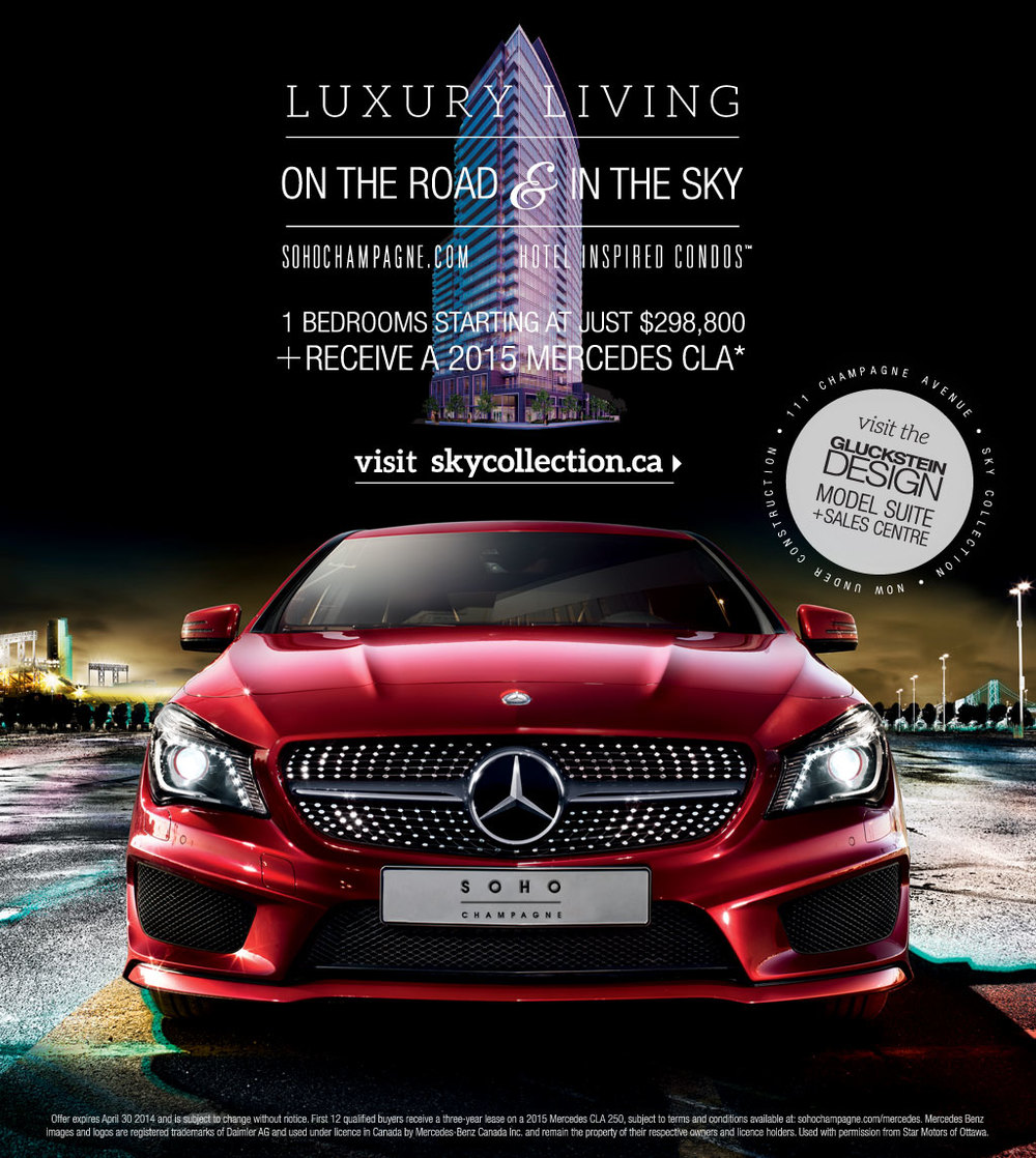 This is an Ad for SOHO, which targeted Millennials. Offering a free lease of a brand new Mercedes CLA with purchase of select units.