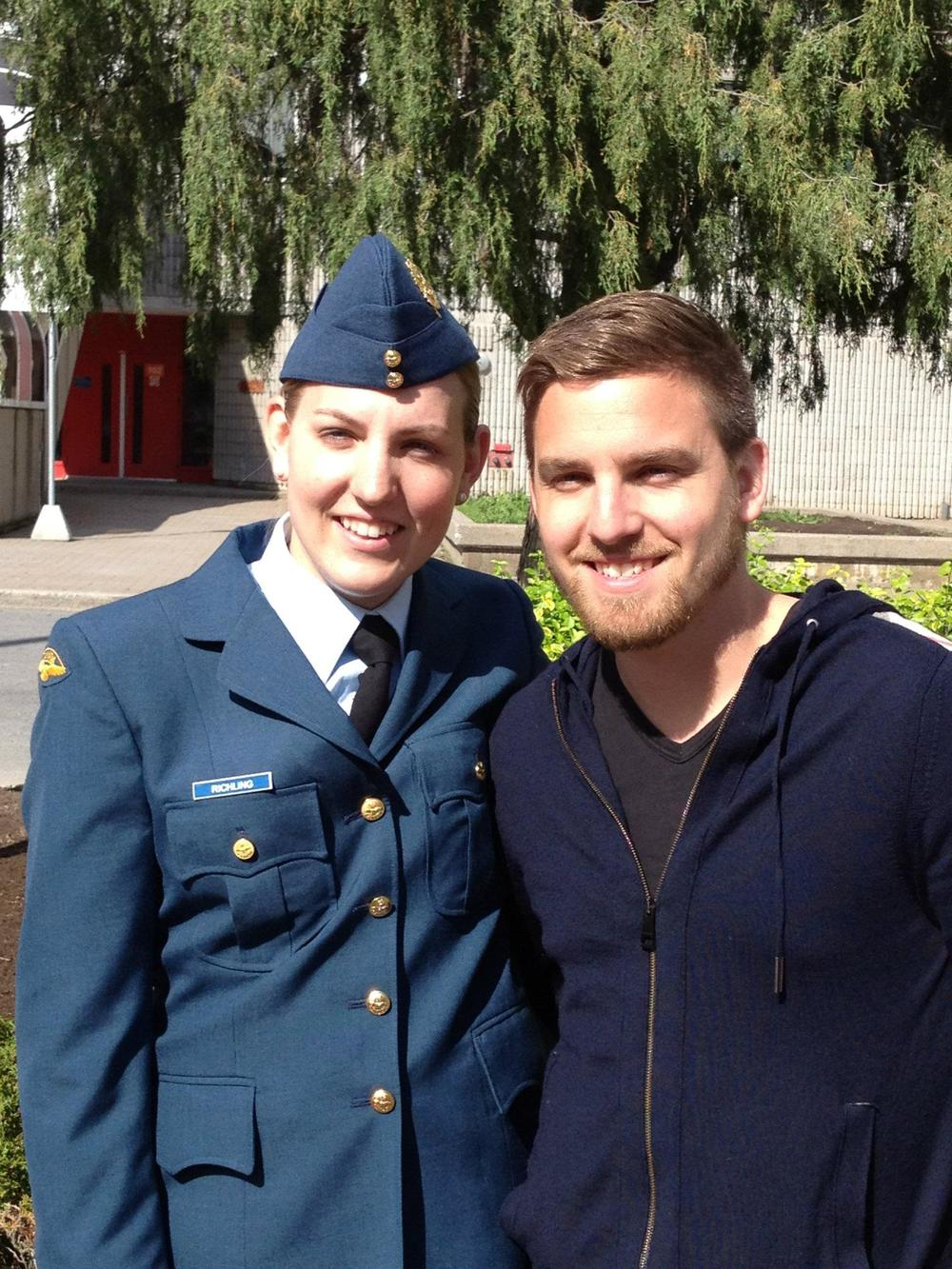 Matt with his sister Monika on her basic graduation at Saint-Jean-sur-Richelieu, Quebec in May 2012