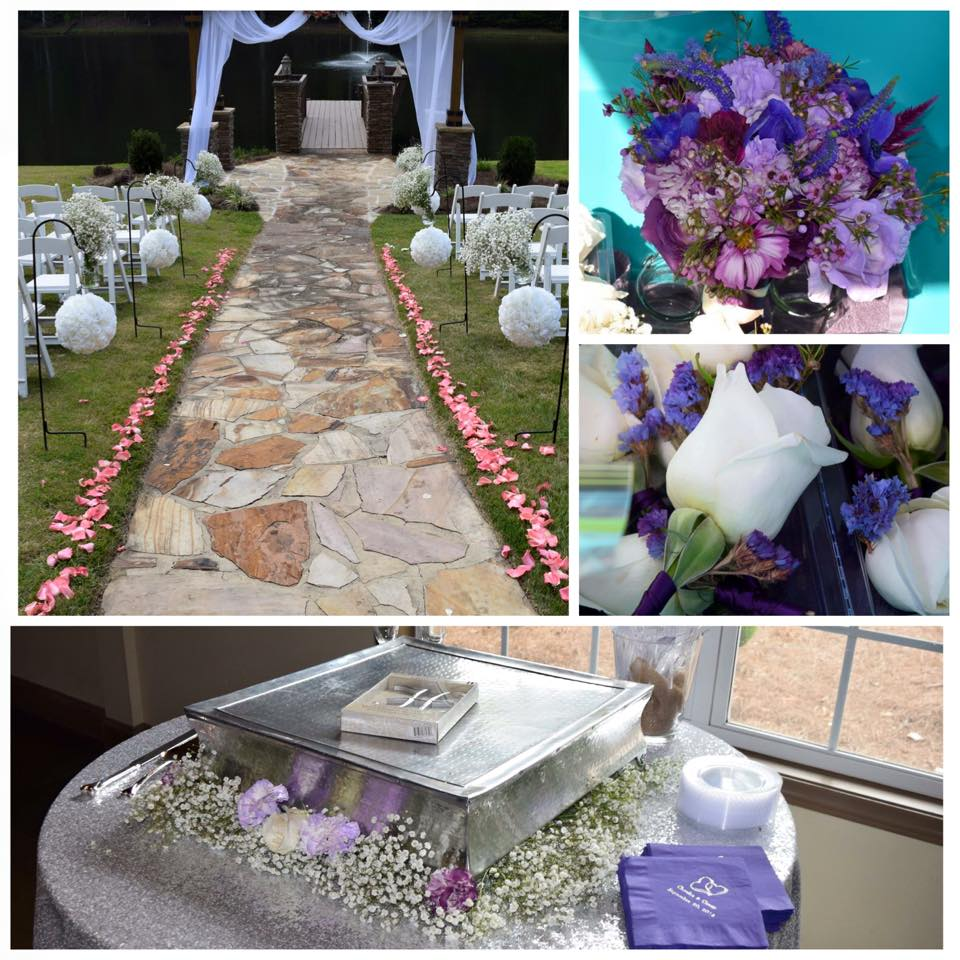 Aisle of pink petals, white pomanders, and jars of baby's breath  Purple anemones, statice, veronica, carnations and roses.  Boutionniere of white rose with purple statice.  Baby's breath and carnation cake stand
