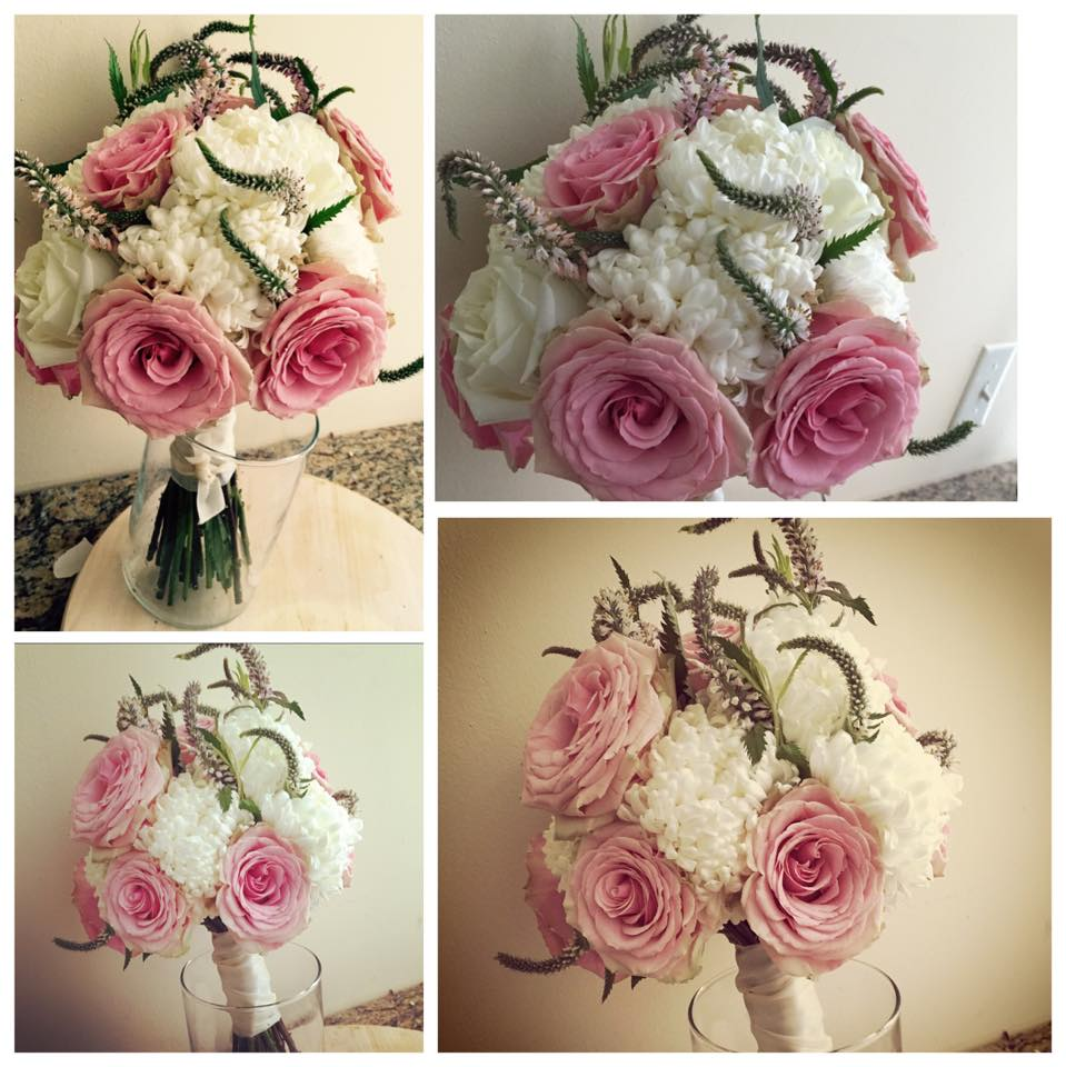 Pink tea rose, white mums, pale pink veronia, hand-tired