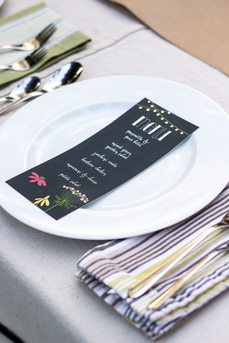 very sarie menu card