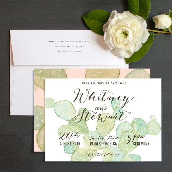 Very Sarie Painted Cactus Customizable Wedding Invitations