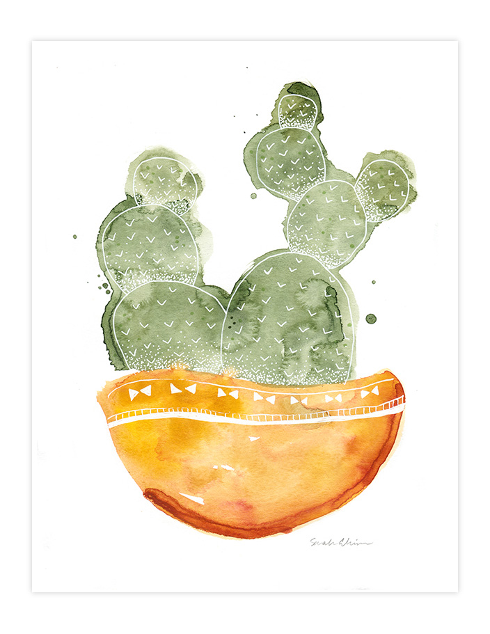 Very Sarie Succulent watercolor painting