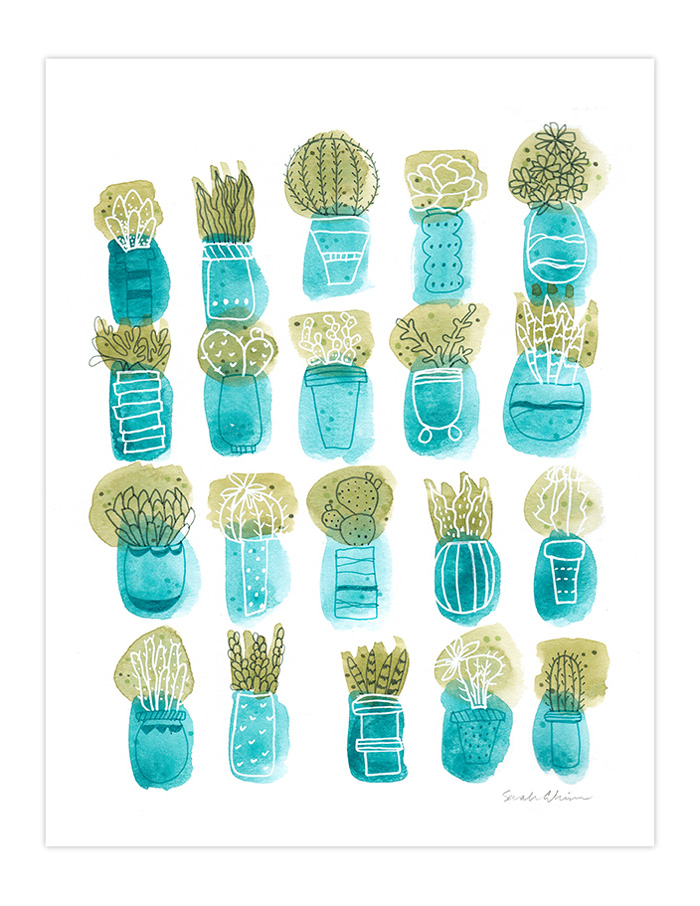 Very Sarie Succulent and cactus art print