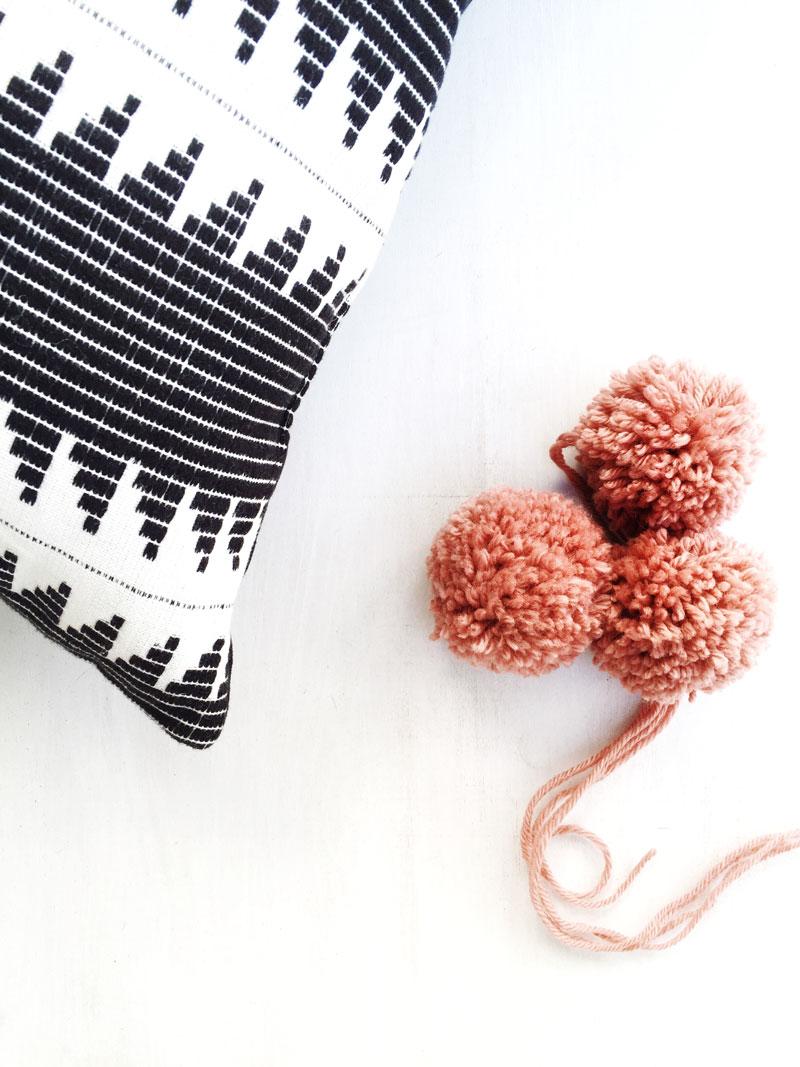 DIY boho pom pom pillow