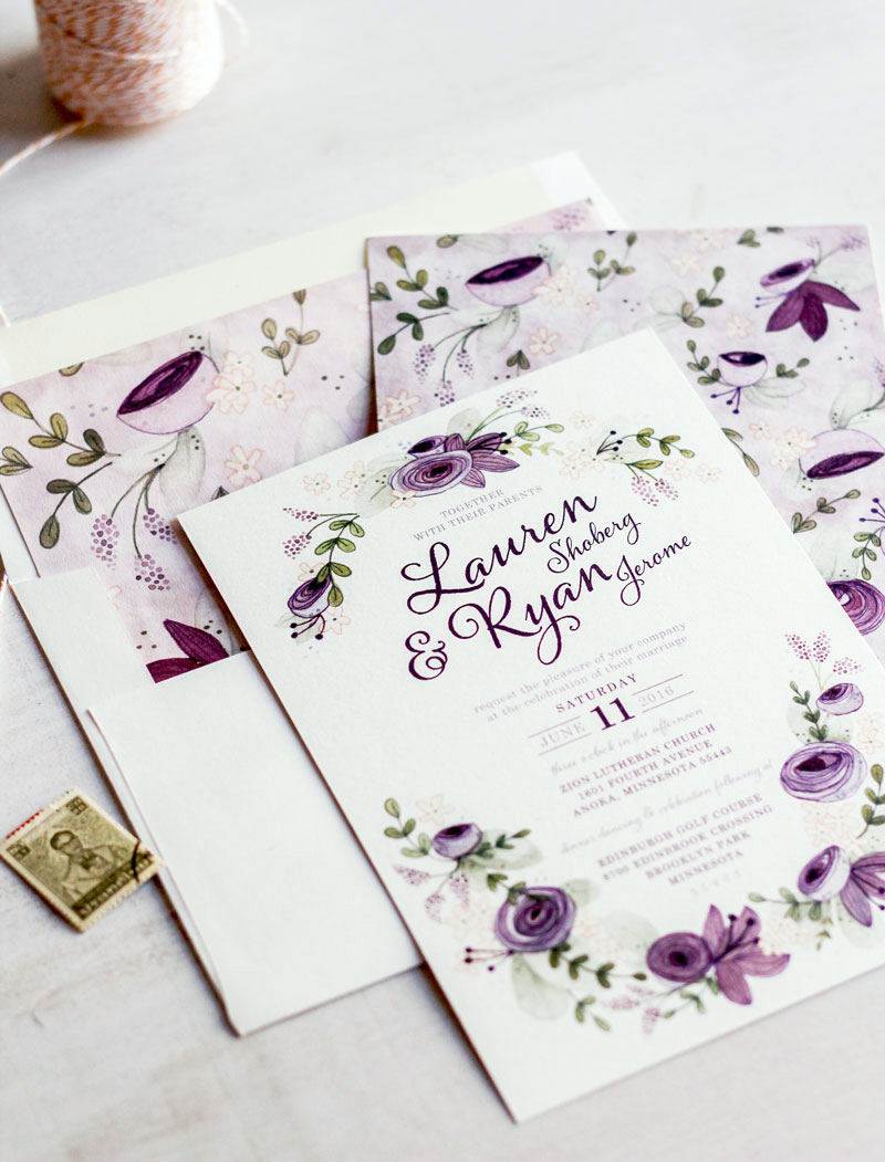 Very Sarie Custom Floral Wedding Invitations