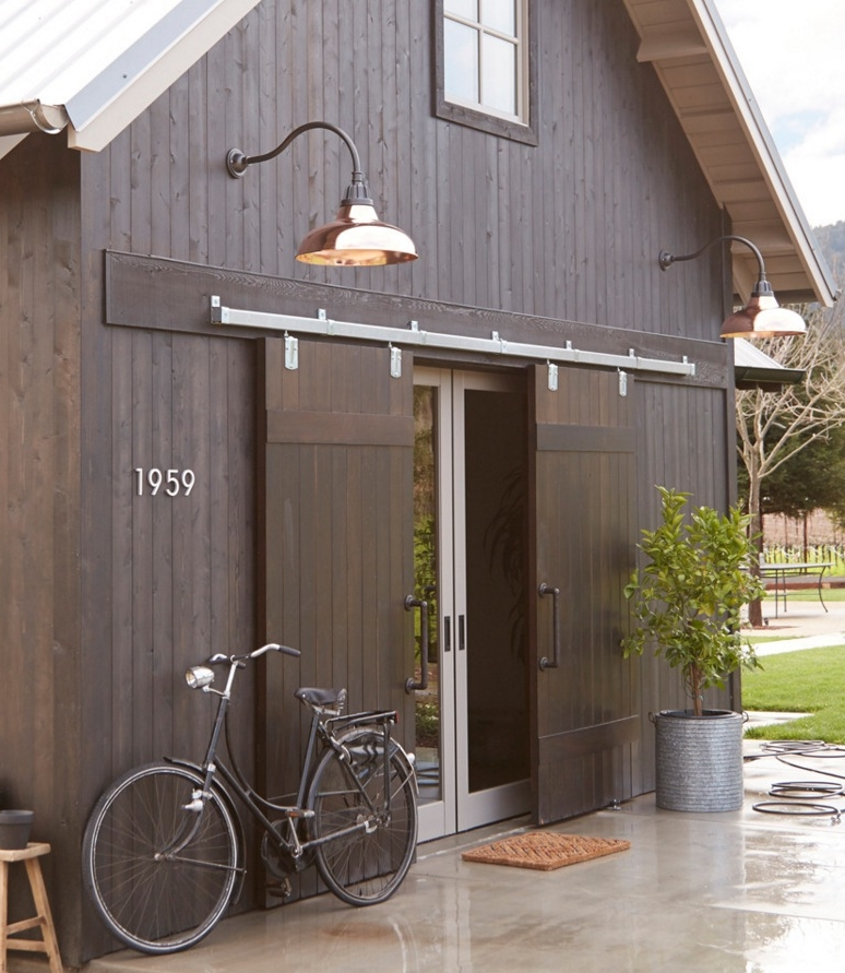 Black Barn with  Rejuvenation Fixtures