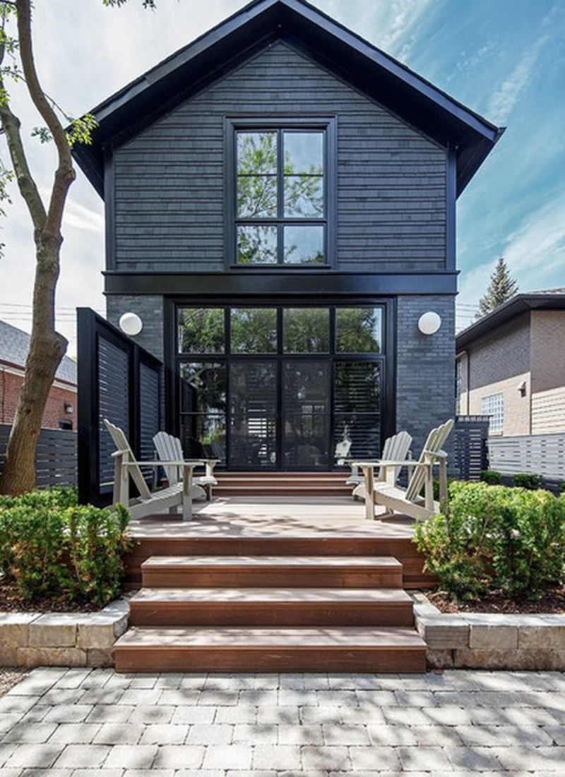 Grey Exterior with Black Trim via  Home Edit