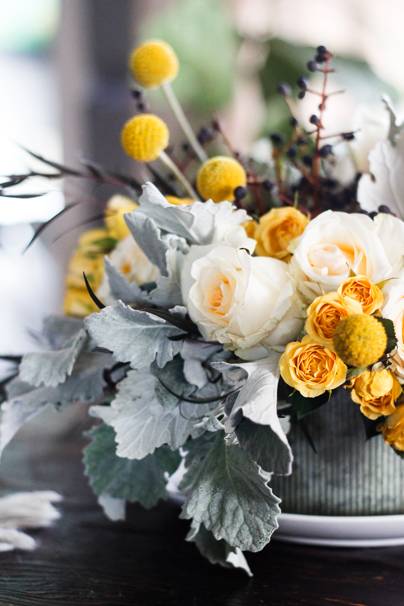 Sunflowers lambsear and Roses bouquet by Farm and Foundry