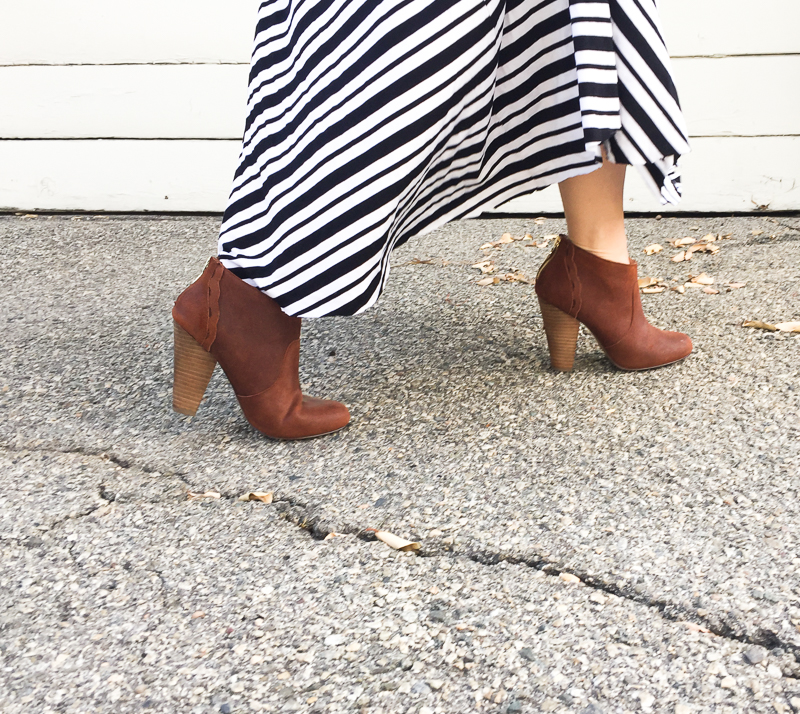 Betsy johnson boots with striped skirt