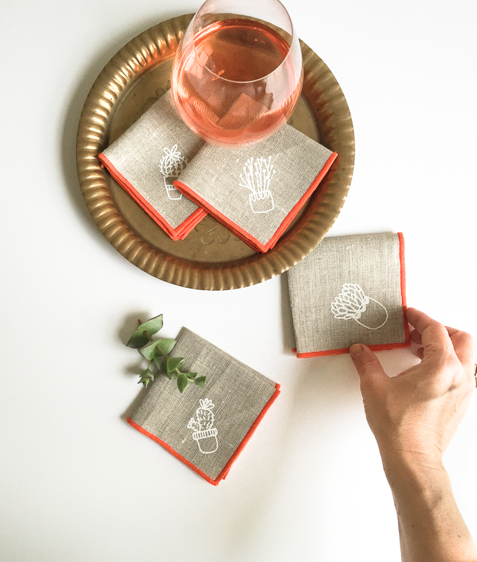click to shop cactus printed cocktail napkins
