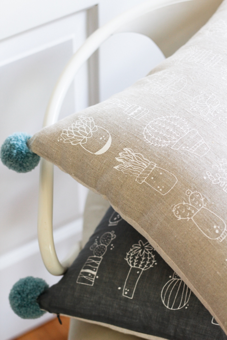 click to shop cactus printed throw pillows