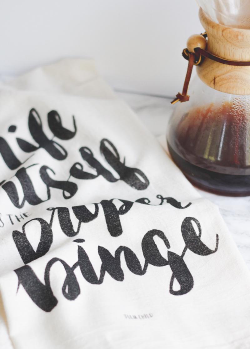 Click to shop Julia Child quote tea towel