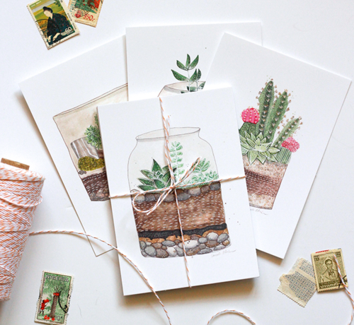 Very Sarie Terrarium Plant Postcards