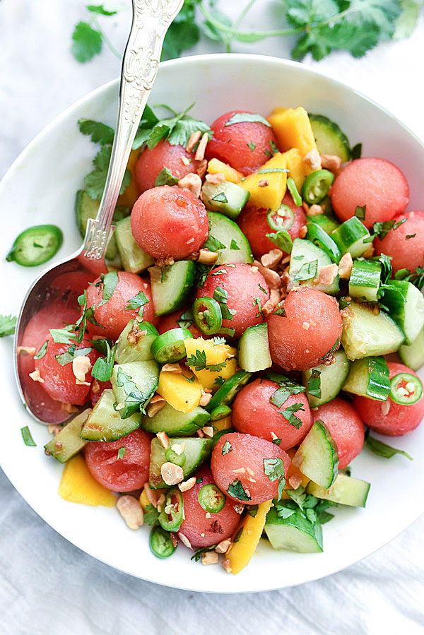 Cucumber, Basil and Watermelon Salad