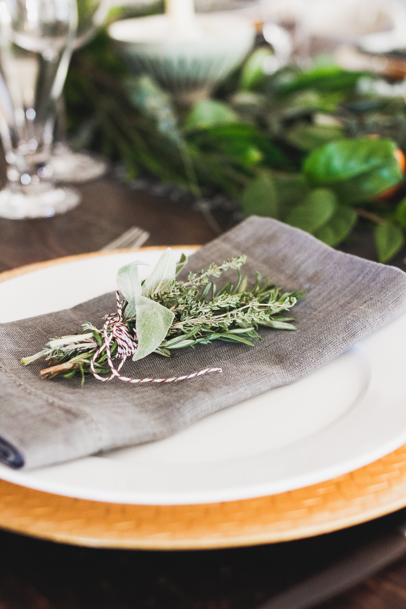 Holiday table setting Herb bouquet