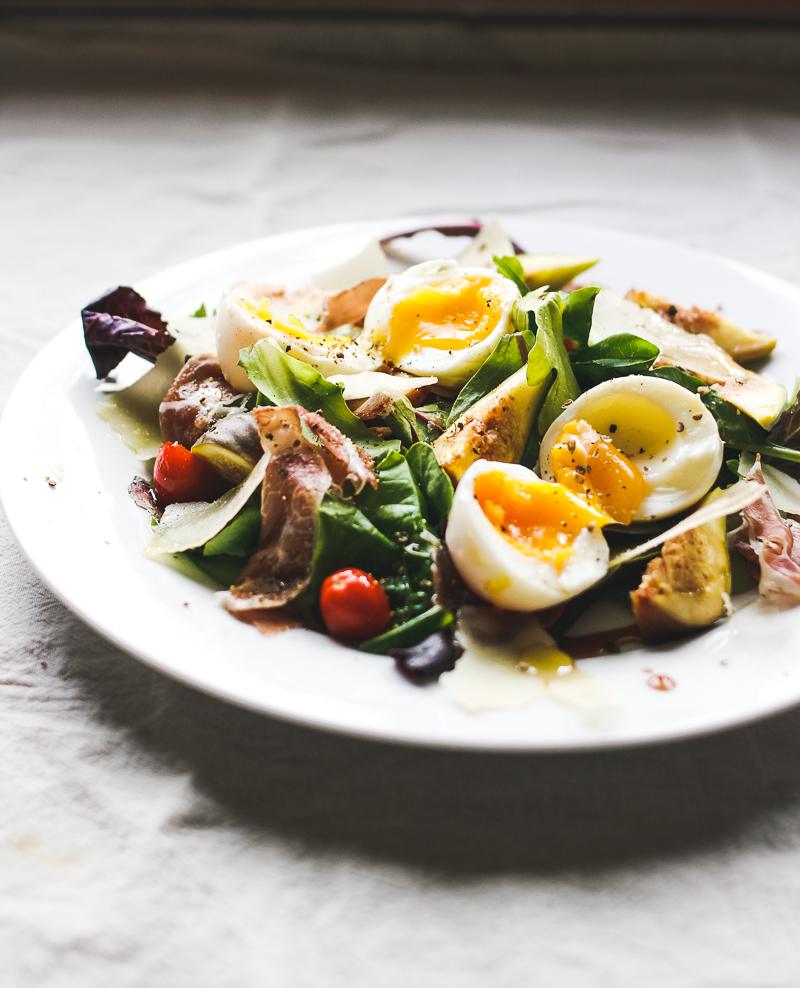 Salad recipe with soft boiled eggs and figs
