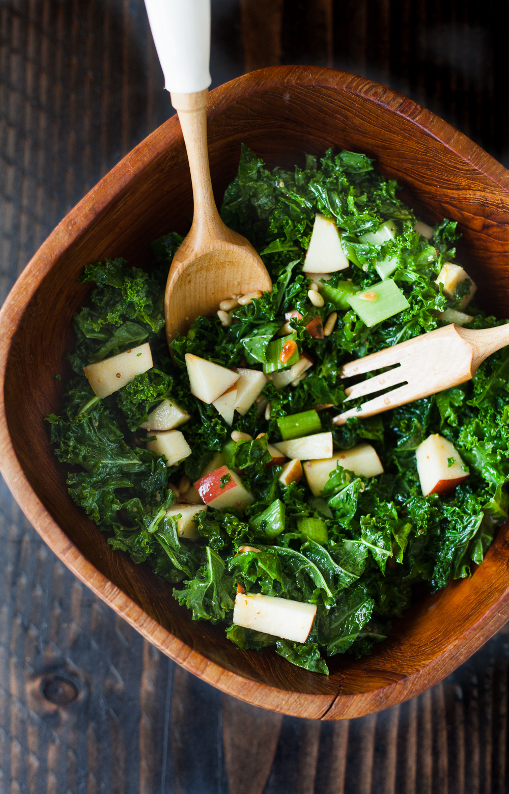 kale apple celery pine nut salad