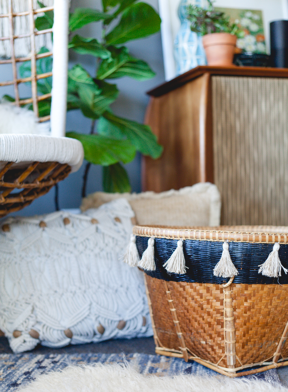 Up-cycled basket with painted stripe and DIY tassels