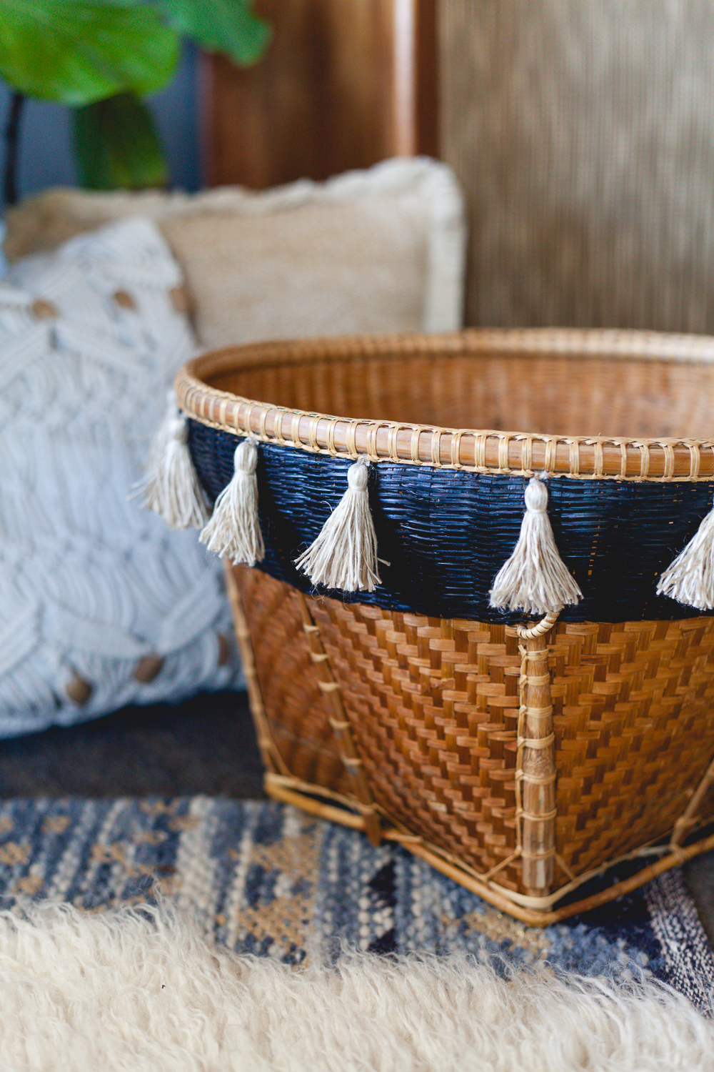 Thrifted basket tassel DIY