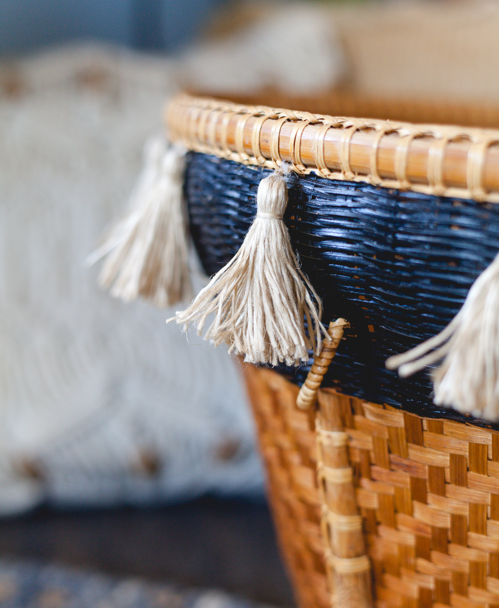 Upcycled tassle basket