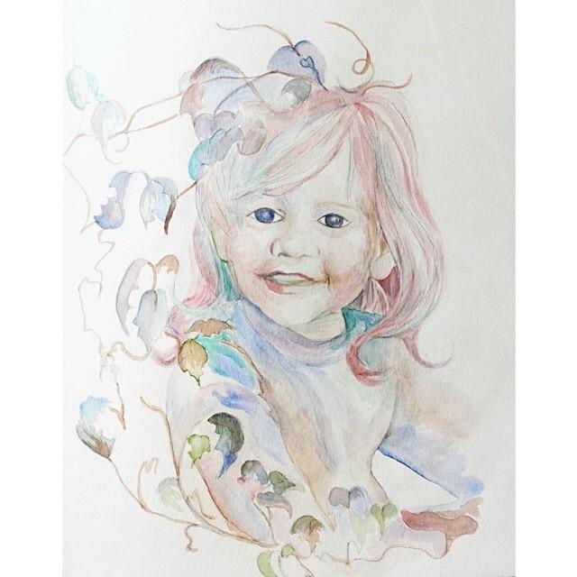 Custom #watercolor #portrait of a darling little family friend. #jackielynnart