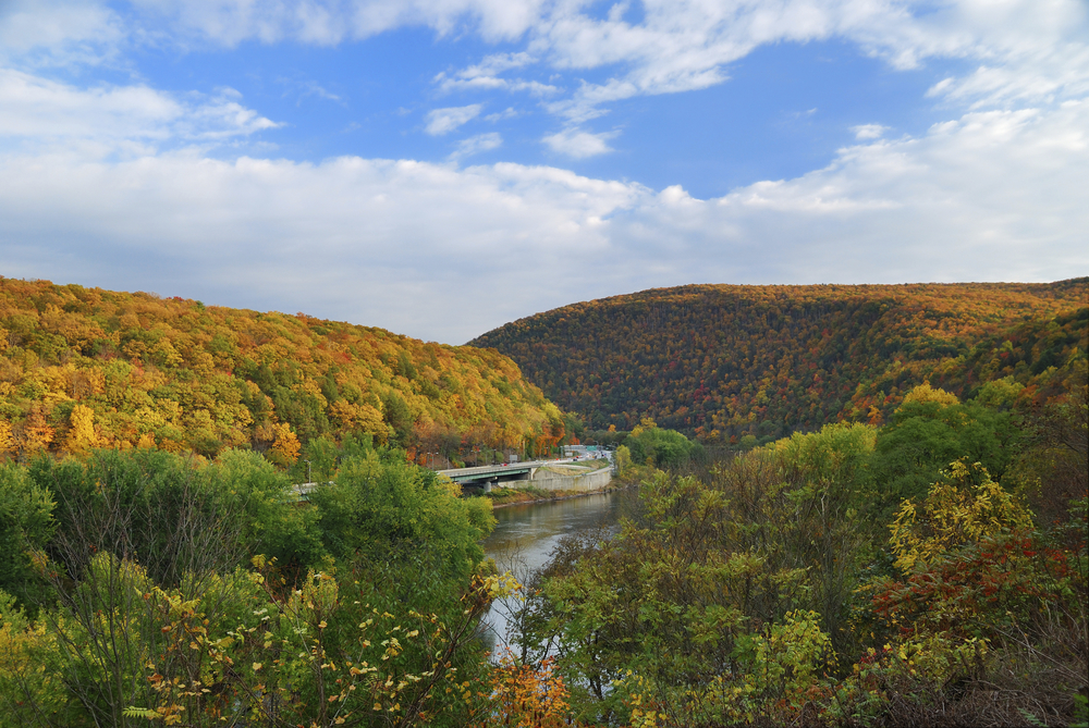 Delaware Water Gap panorama in Autumn