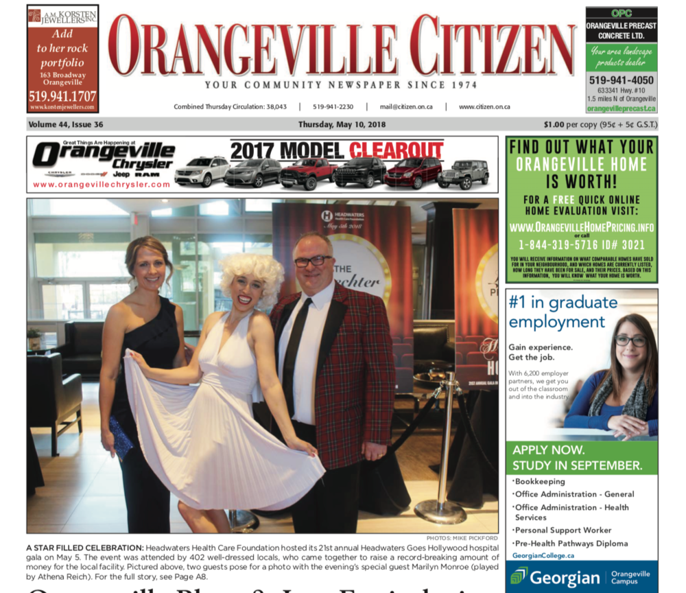 Front page of Orangeville Citizen