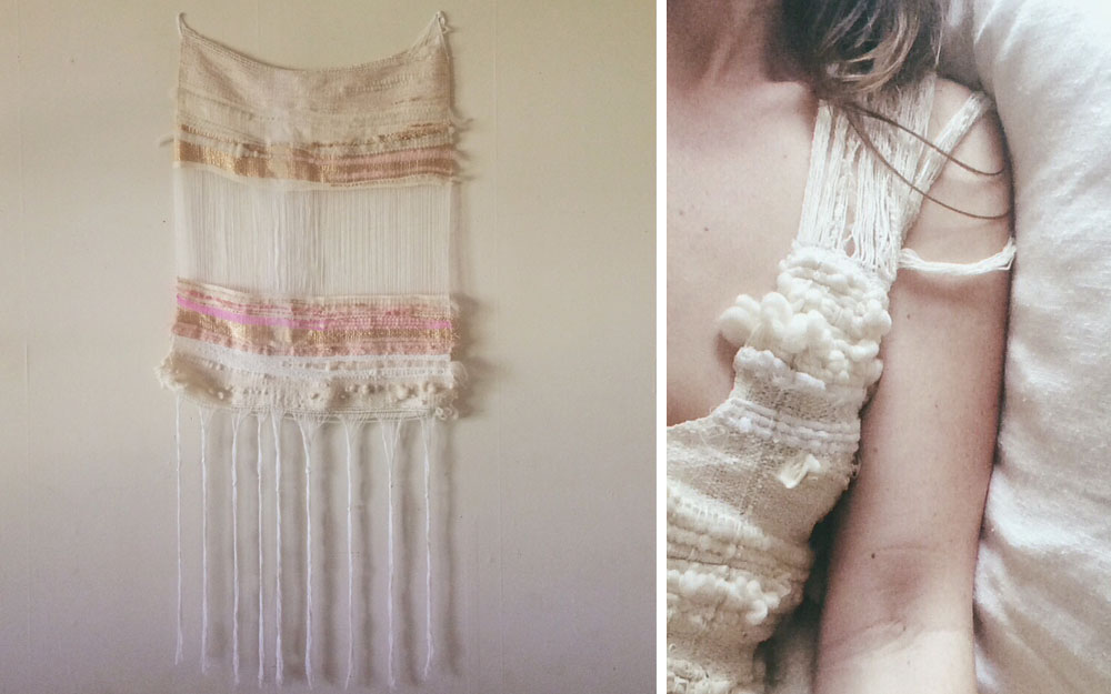 Woven wall hanging and wearable art by Tehya Shea