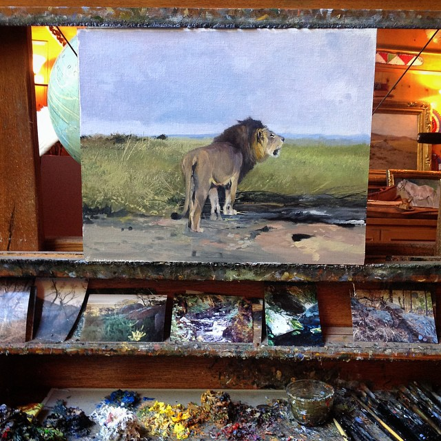 On Michael's easel today #lion #michaelcolemanart #colemanart #colemanstudios #fineart
