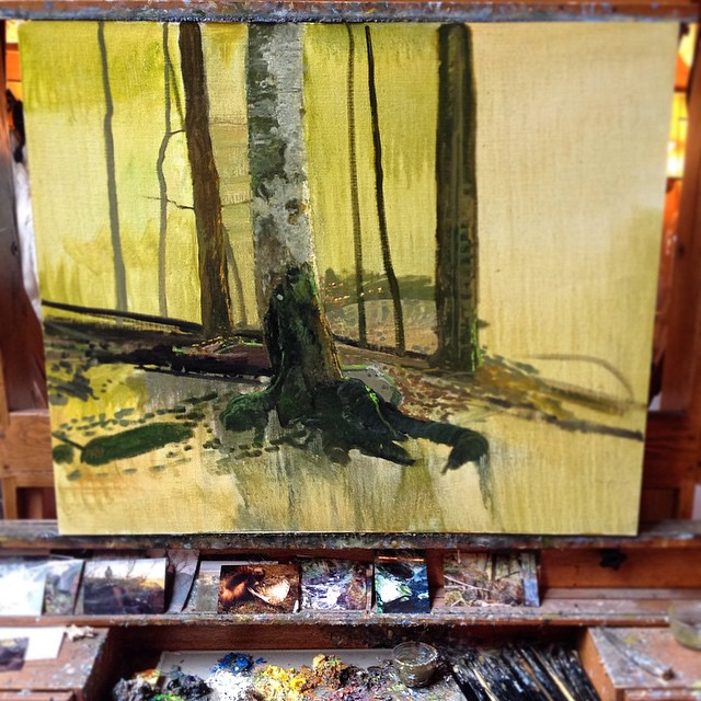 New work on Michael's easel today #michaelcolemanart #colemanart #colemanstudios #fineart #trees