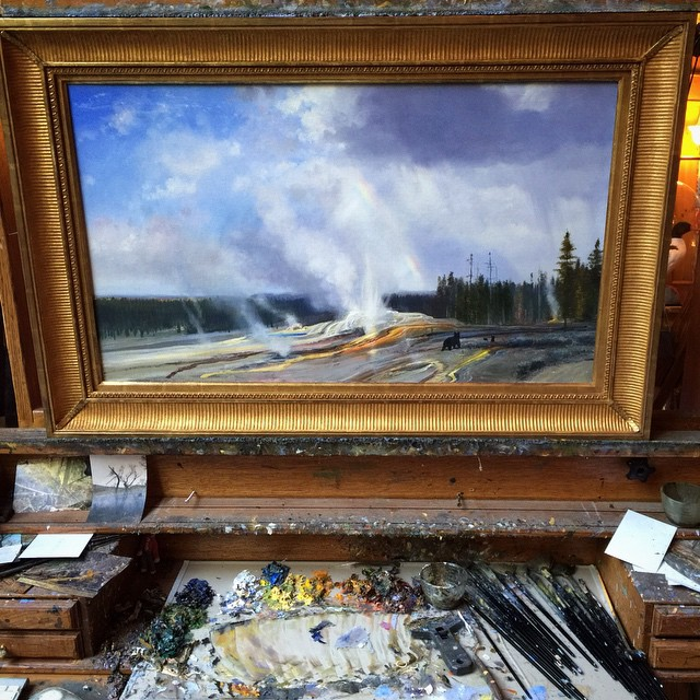 Happy Birthday Dad! #michaelcolemanart We coaxed him out of the studio briefly to celebrate! (That takes some doing) #colemanart #colemanstudios #fineart #yellowstone