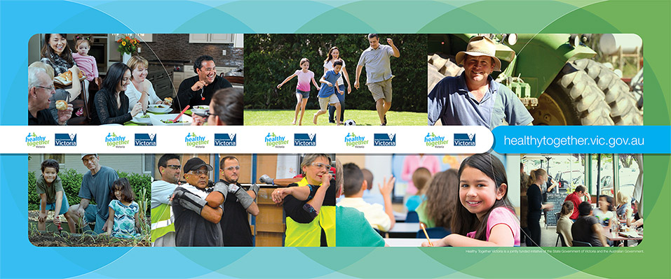 Healthy Together Victoria (HTV) is a State Government of Victoria and Australian Government initiative aiming to improve people's health where they live, learn, work and play. We were asked to design a large banner for their exhibition backdrop at the World Diabetes Congress 2013.