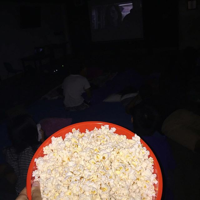 The Martian has begun! We have pizza, salad, popcorn, and drinks🍿🍕🍿🍕. It's not too late to come join the fun!