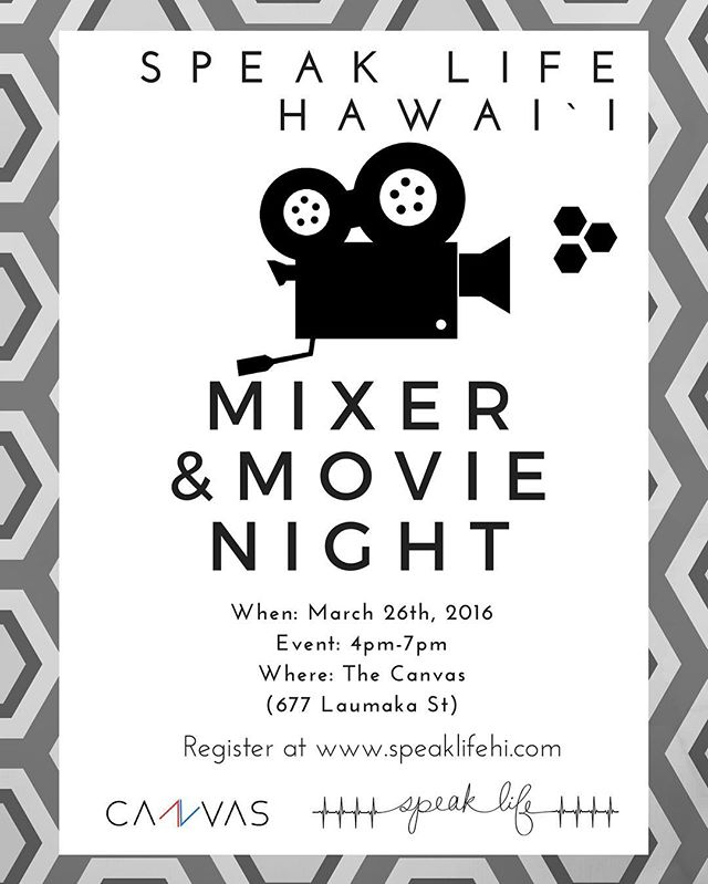 Great event happening this Saturday! We're partnering with @speaklifehawaii to hold a movie night! Don't forget to register at their website. Feel free to contact us for more info.