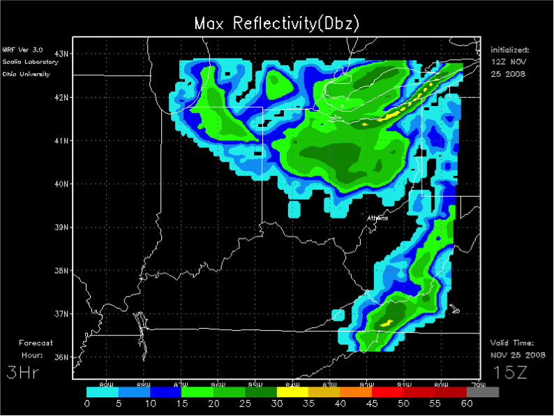 A late-season cold front in November 2008, simulated by our Ohio U. mesoscale WRF model.