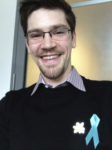 Nick with his ribbon and pin on Daffodil Day!