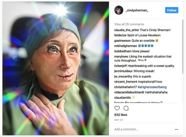 "Cindy Sherman Instagram, 2017, ""Cindy Sherman Takes Selfies (as Only She Could) on Instagram).""  The New York Times  (August 6, 2017).  https://www.nytimes.com/2017/08/06/arts/design/cindy-sherman-instagram.html"