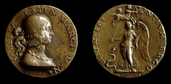 Gian Cristoforo Romano,  Medal of Isabella d'Este , 1498, cast bronze, diameter 3.75 cm, The British Museum, London