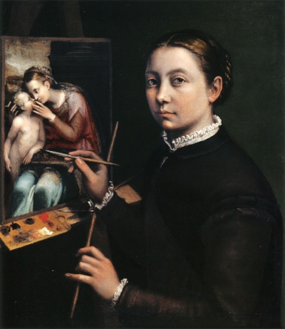 Sofonisba Anguissola , Self Portrait at the Easel Painting a Devotional Panel , 1556, oil on canvas, 66 x 57 cm, Łańcut Castle.