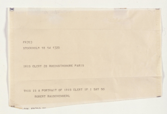 Robert Rauschenberg,  This is a Portrait of Iris Clert if I Say So,  1961, Telegram with envelope, 44.5 x 34.6 cm), Collection Ahrenberg, Vevey, Switzerland.