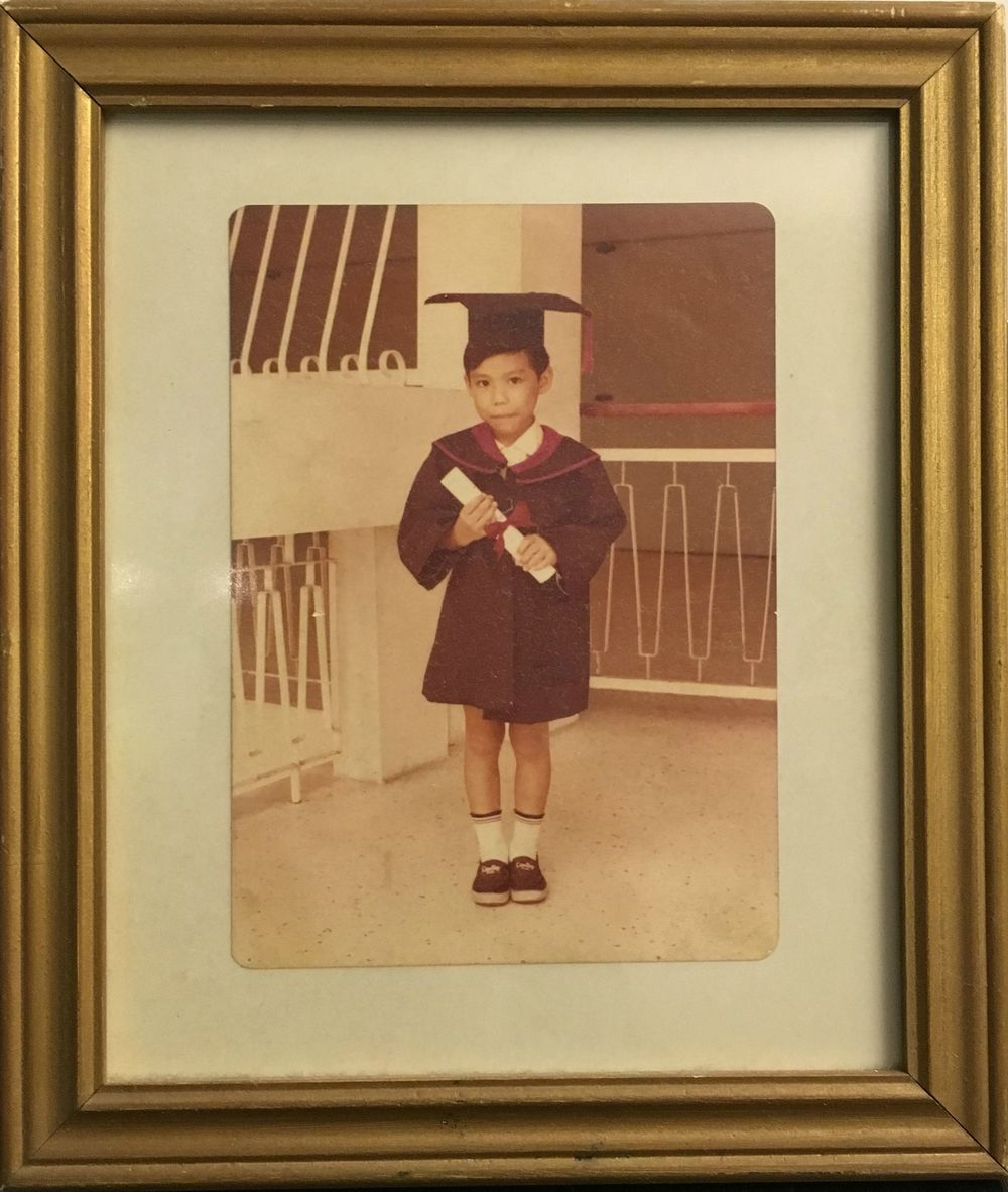 Portrait of Michael Lee, Chinese Kindergarten on Outram Road, c.1978. Photographer unknown.
